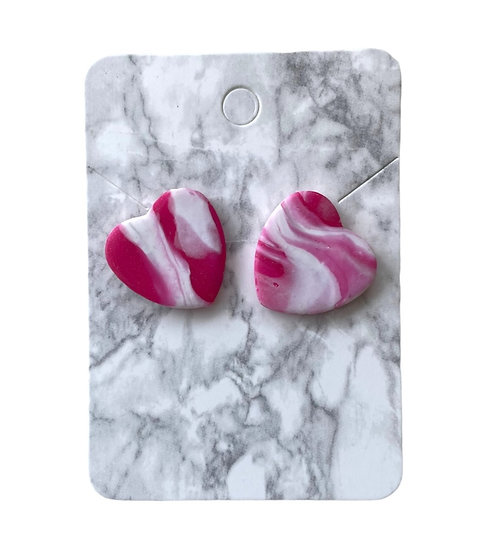 Pink marble heart studs (Large)