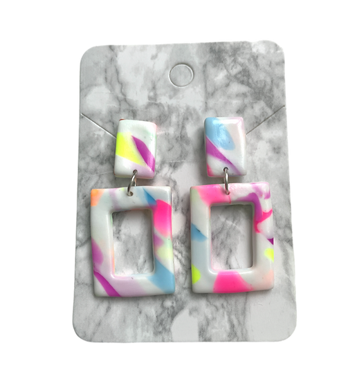 Marbled neon rectangle dangles