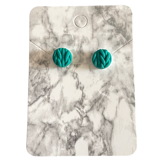 Emerald knitted studs (Small)