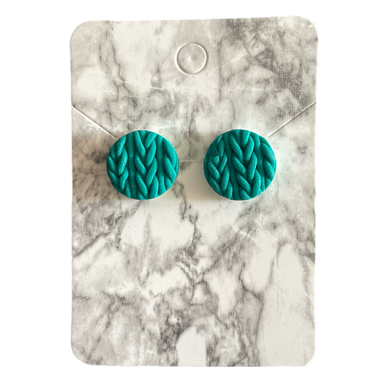 Emerald knitted studs (Large)