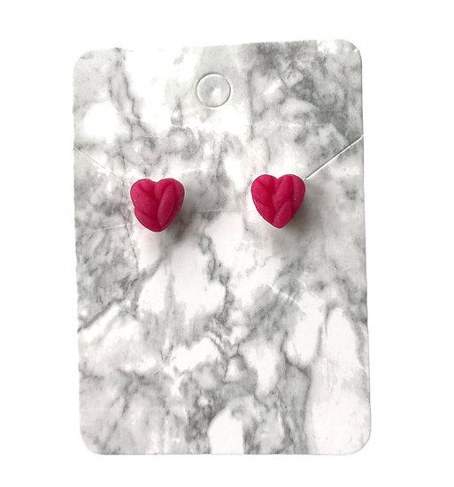 Pink glitter knitted heart studs (Small)