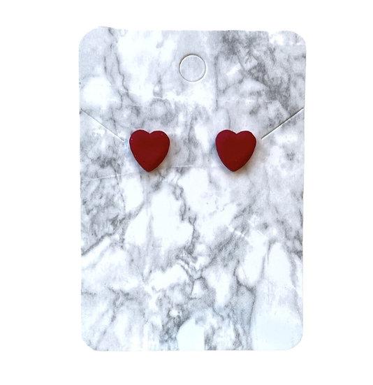 Red glitter heart studs (Small)