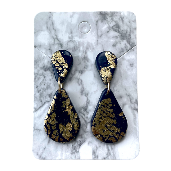 Navy and gold dangles
