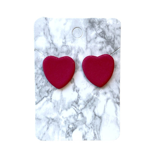 Red metallic heart studs (Large)