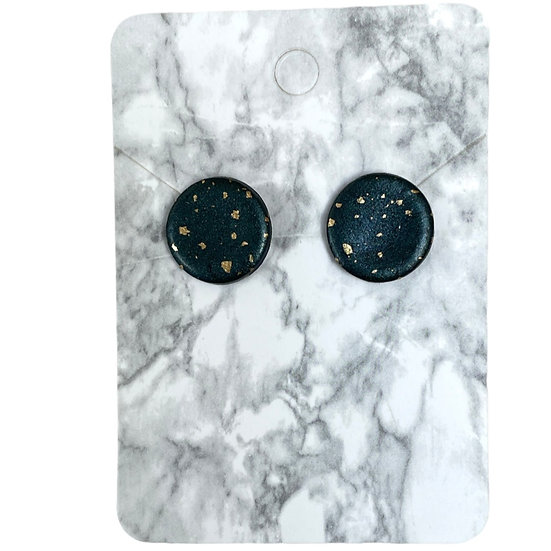 Black pearl and gold studs (Large)