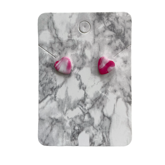 Pink marble heart studs (Small)