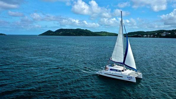 Sortie catamaran pivatisée fonds blancs
