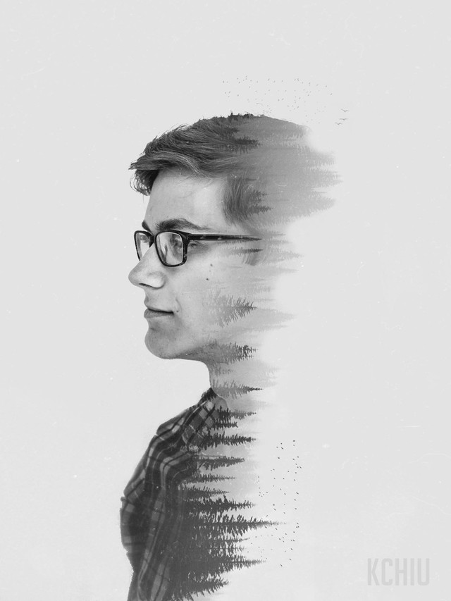 Double exposure portrait of man and an evergreen forest
