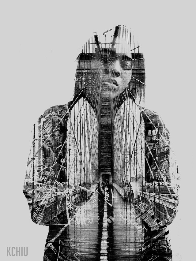 Double exposure of a woman with Brooklyn Bridge.