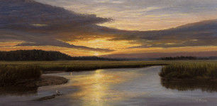 """""""Sunset From Russell Creek"""" #00520 Oil on Linen 8"""" x 16"""""""