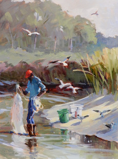 """SOLD """"The Shrimpers"""" Oil on Canvas 16"""" x 12"""""""