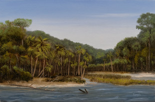 """The Lagoon at High Tide, Hunting Island, March 28"" #00618 Oil on Gessoboard 6"" x 9"""