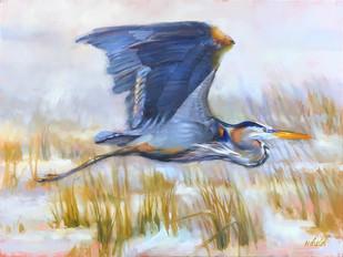 """""""Heron Glider"""" Oil on Canvas 18"""" x 24"""""""
