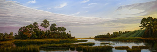 """Morning Light, Hunting Island Marshes"" #00718 Oil on Gessoboard 20"" x 60"""