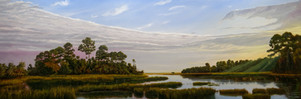 """""""Morning Light, Hunting Island Marshes"""" #00718 Oil on Gessoboard 20"""" x 60"""""""
