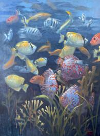"""""""The Aquarium"""" Oil on Canvas 48"""" x 36"""""""