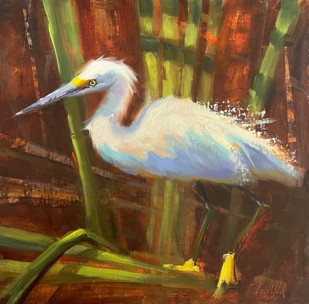 """""""Rockin' In The Reeds"""" Oil on Canvas 12"""" x 12"""""""