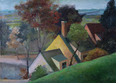 """""""Rooftops Over Green Hill"""" PS-2019-280 Oil on Canvas 21"""" x 26"""""""