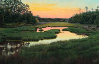 """""""Marsh Sunset"""" #21136 Acrylic on Linen 35"""" x 54"""""""