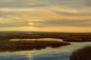 """""""Sunset Over The Marsh, Hunting Island, March 28, 2018"""" #00218 Oil on Gessoboard 6"""" x 9"""""""