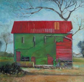 """Green Tobacco Farm"" PS-2019-139 Oil on canvas 22"" x 22"""