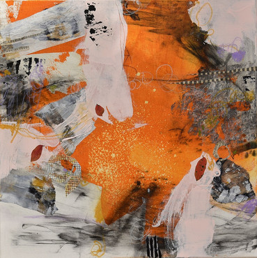 """""""Conversation Two"""" Mixed Media on Canvas 20"""" x 20"""""""