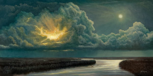 """""""Full Moon and Thunderstorm Over A Tidal Creek"""" #00418 Oil on Gessoboard 12"""" x 24"""""""