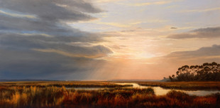 """The Marsh Before Sunset, Hunting Island"" #00318 Oil on Gessoboard 12"" x 24"""