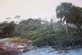 """Morning Mist – Hunting Island"" #13089 Acrylic on Linen 32"" x 48"""