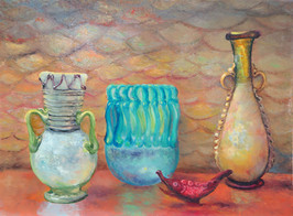 """""""Still Life with Roman Glass"""" PS-2018-367 Oil on Board 12.5"""" x 15.5"""""""