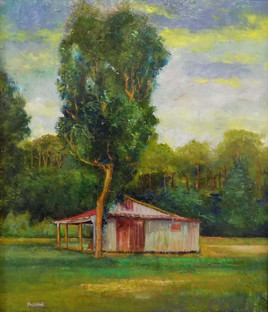 """""""Shed with Tall Tree Sunset, Orangeburg County"""" PS-2018-128 Oil on Canvas 23"""" x 19"""""""