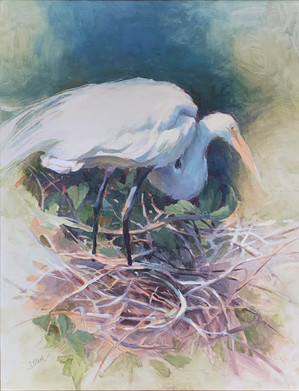"""""""Egret and Nest"""" Oil on Panel 24"""" x 18"""""""