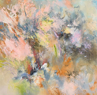 """""""As Soft As Petals"""" Mixed Media on Canvas 36"""" x 36"""""""