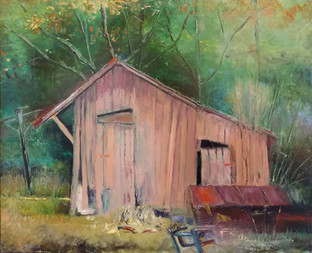"""""""Pink Shed, Calhoun County"""" PS-2000-007 Oil on Canvas 17"""" x 21"""""""