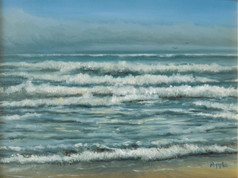 """Atlantic Waves and Sea Fog"" Oil on Board 6"" x 8"""