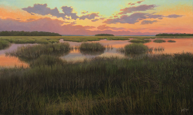 """""""Beaufort Wetlands, View From Trask Parkway"""" #19125 Acrylic on Linen 30"""" x 50"""""""