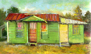 """""""Green House, Striped Door"""" PS-2019-140 Oil on canvas 6"""" x 10"""""""