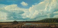"""Low Country Summer Sky"" Oil on Board 6"" x 12"""