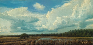 """""""Low Country Summer Sky"""" Oil on Board 6"""" x 12"""""""
