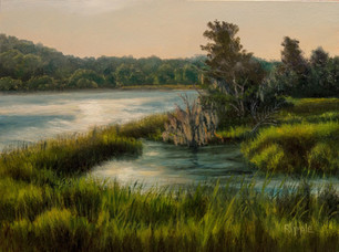 """""""Afternoon Glow On The Combahee River"""" Oil on Gessoboard, Plein Air 6"""" x 8"""""""