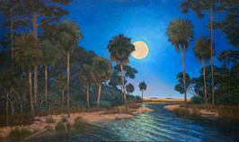 """…And the Moon Beams Kiss the Sea"" Oil on Canvas 36"" x 60"""