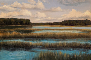 """""""Morning Clouds, Lucy Creek"""" Oil on Board 6"""" x 9"""""""