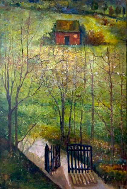 """""""Rose Shed on Hill with Gate"""" PO-2014-346 Oil on Canvas 37"""" x 25"""""""
