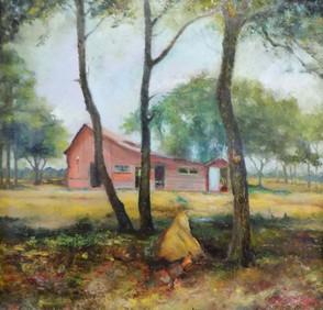 """Rose Farm Through Trees, Orangeburg County"" PS-2018-111 Oil on Canvas 21.5"" x 21.5"""