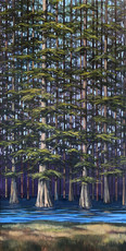 """""""Cypress Stand"""" Acrylic on Canvas 36"""" x 18"""""""
