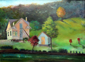 """""""Pink House on Green Hill"""" PS-2019-281 Oil on Board 25"""" x 19"""""""