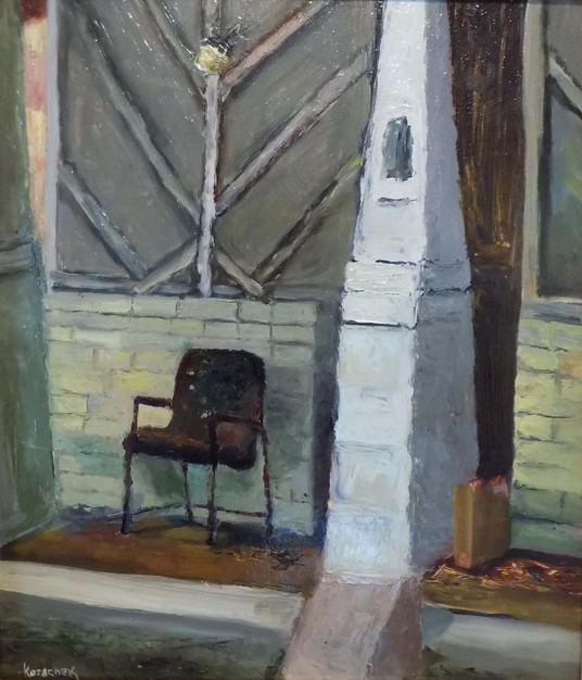 """Solitary Chair, Treadwell St – Orangeburg, SC"" PS-2000-007 Oil on Board 16"" x 14"""