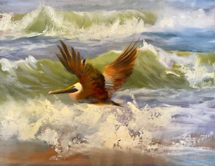 """""""Riding The Surf"""" Oil on Canvas 11"""" x 14"""""""