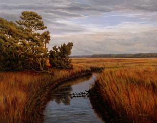 "#00518 ""Late Day in the Tidal Marsh, Edisto Island"" Oil on Gessoboard 16"" x 20"""