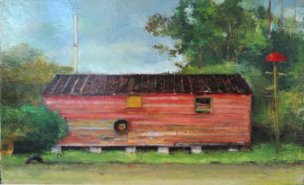 """""""Tar Roof"""" PS-2019-103 Oil on canvas 13"""" x 21"""""""